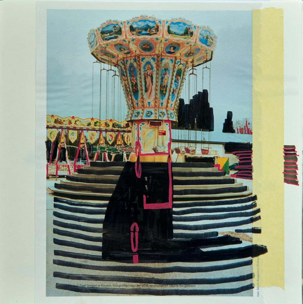 o.T. # 25, 29 x 29 cm, Papier, Tape und Marker auf Papier