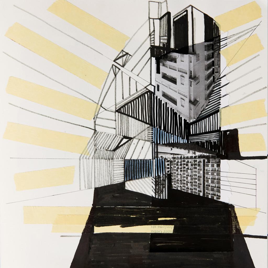 o.T. # 18, 29 x 29 cm, Papier, Tape und Marker auf Papier