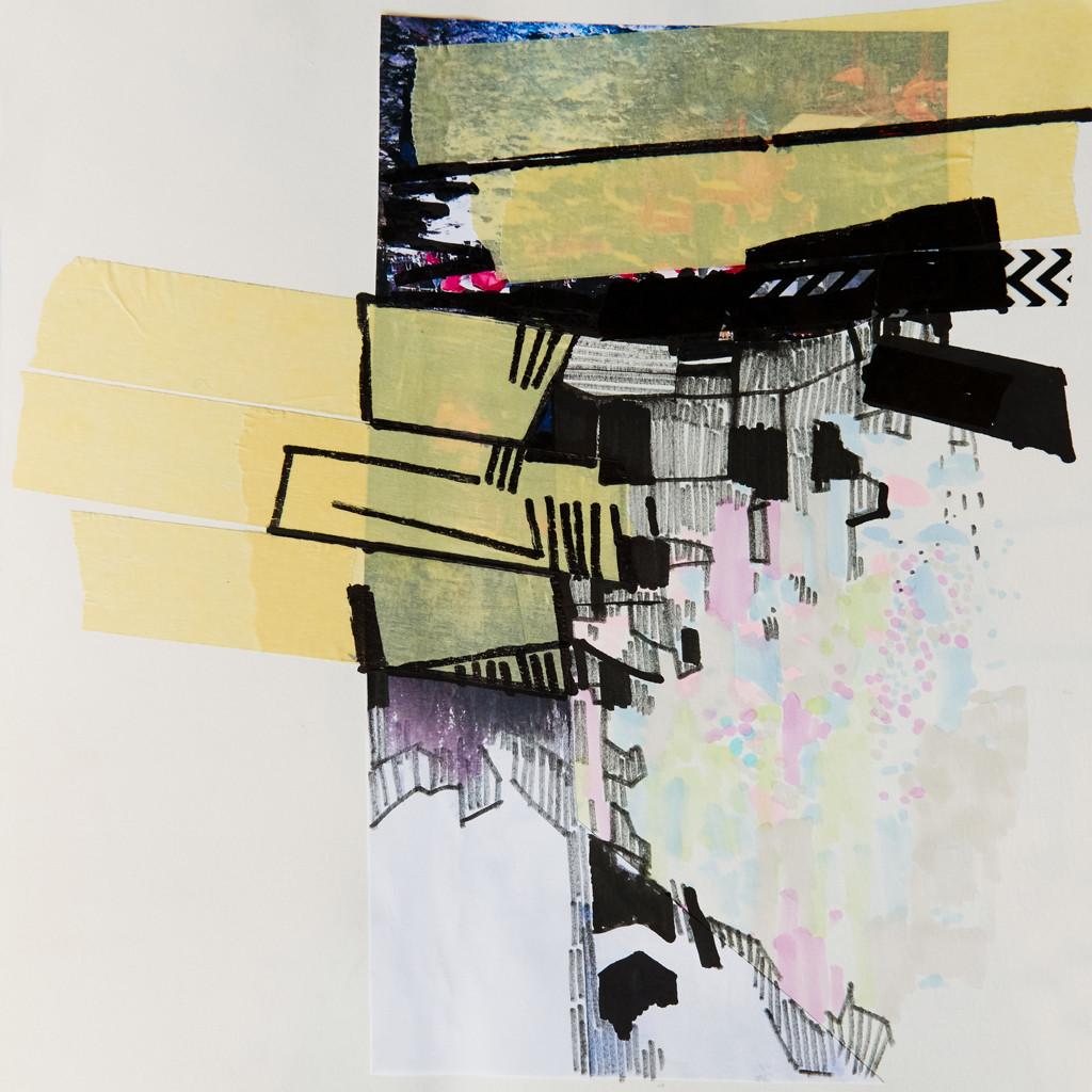 o.T. # 17, 29 x 29 cm, Papier, Tape und Tuschestift auf Papier