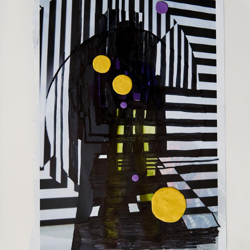 o.T. # 13, 29 x 29 cm, Papier, Marker und Knete auf Papier