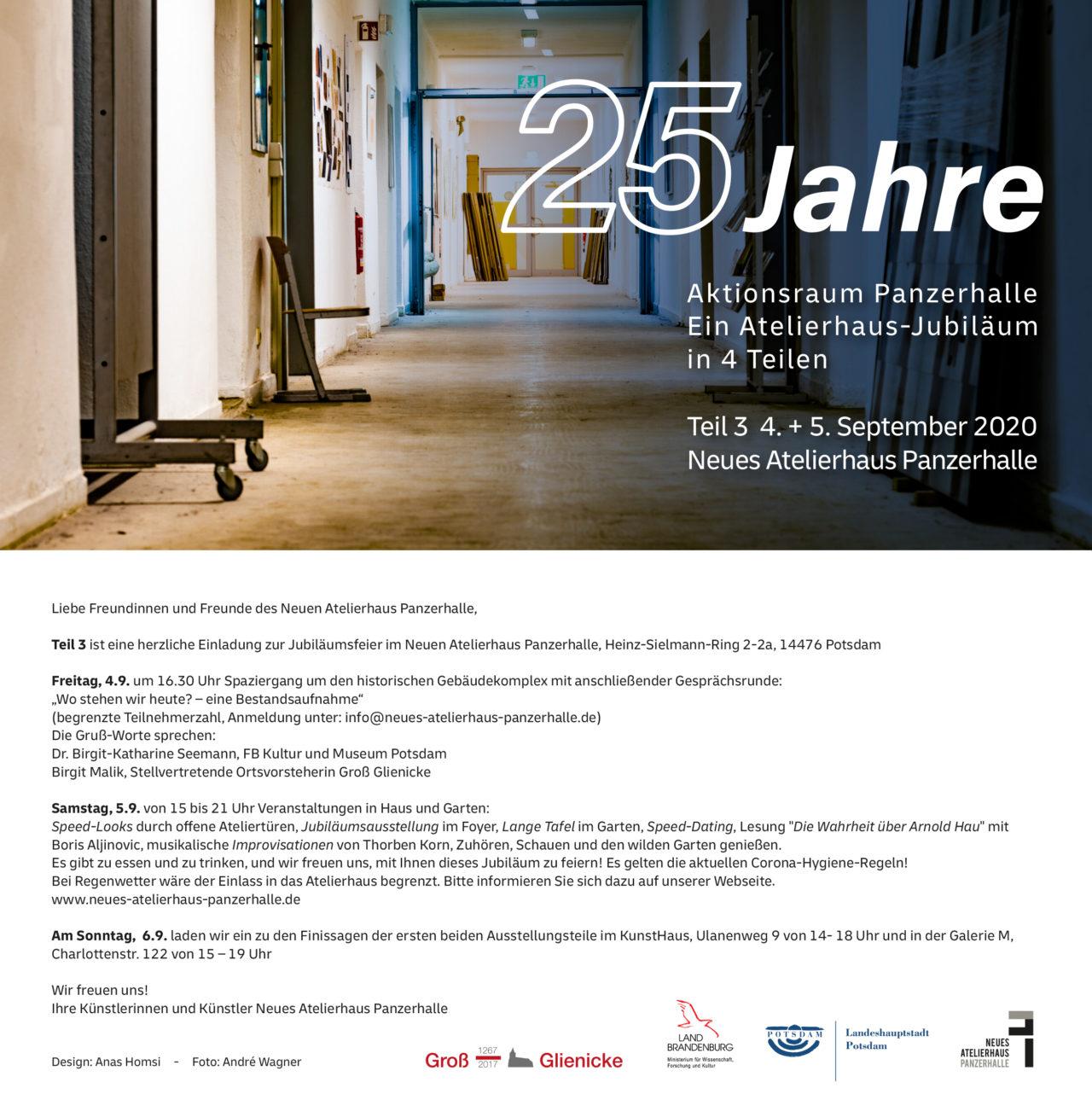 Jubiläumsfest 25 Jahre Aktionsraum Panzerhalle  Fr/Sa 4./5.9.2020
