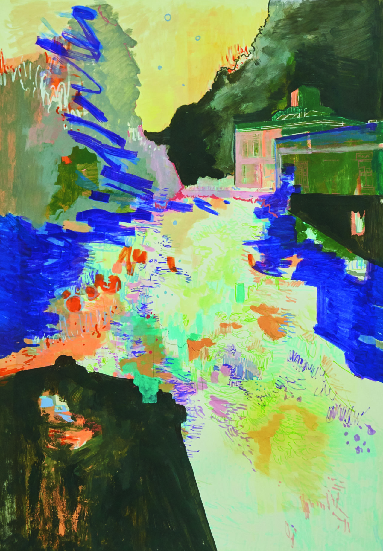 Heiliger See, 100 x 70 cm, Acryl, Stift und Tuschestift auf Papier, 2017