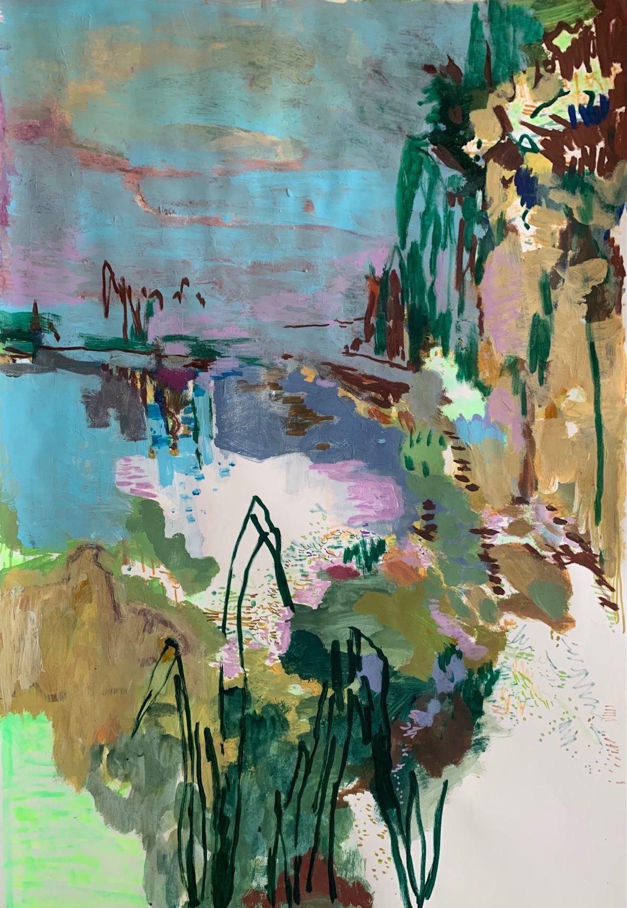 Am Abend, 100 x 70 cm, Acryl, Lack- und Tuschestift auf Papier