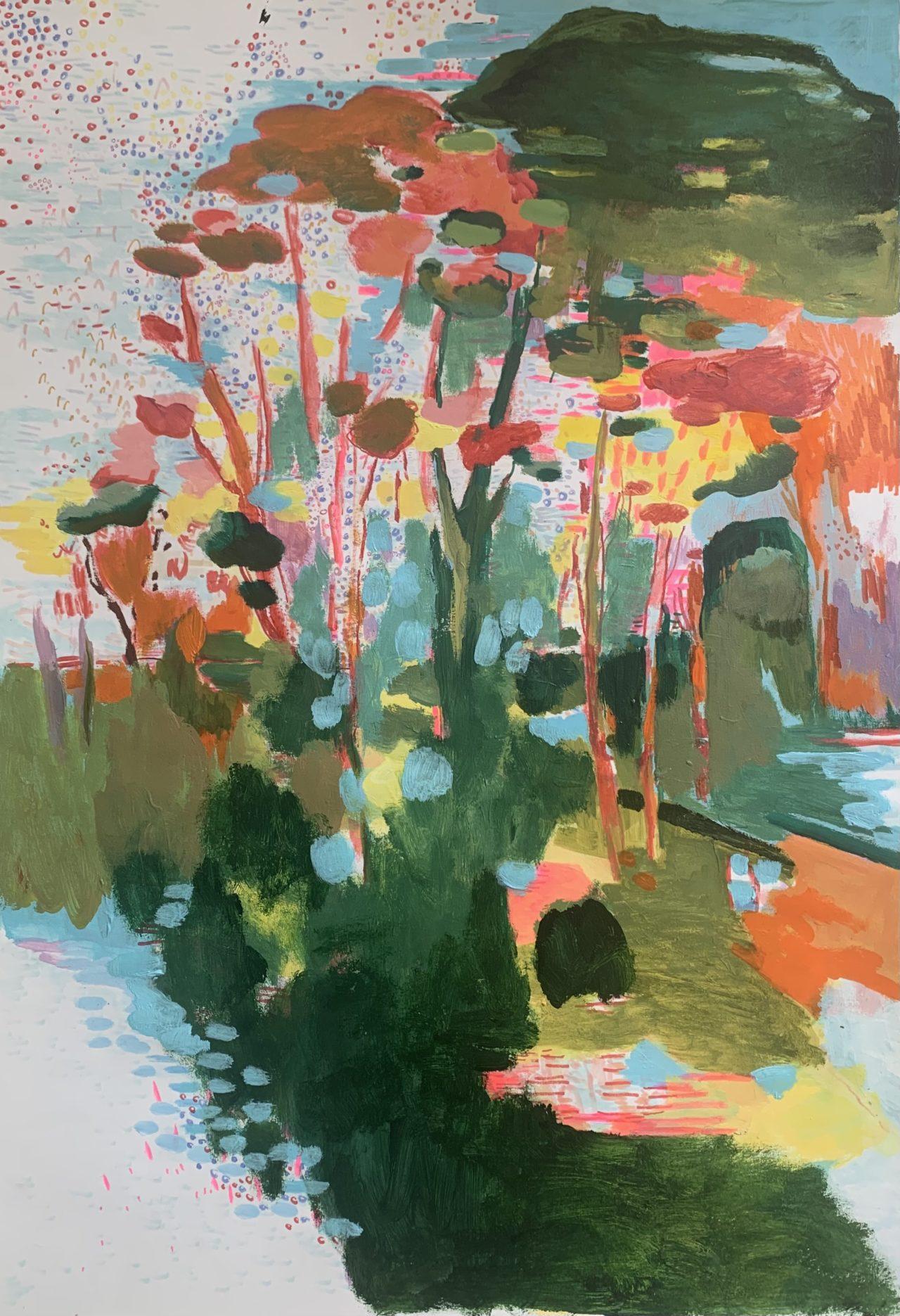 Crescendo, 100 x 70 cm, Acryl, Tusche- und Lackstifte auf Papier, 2021