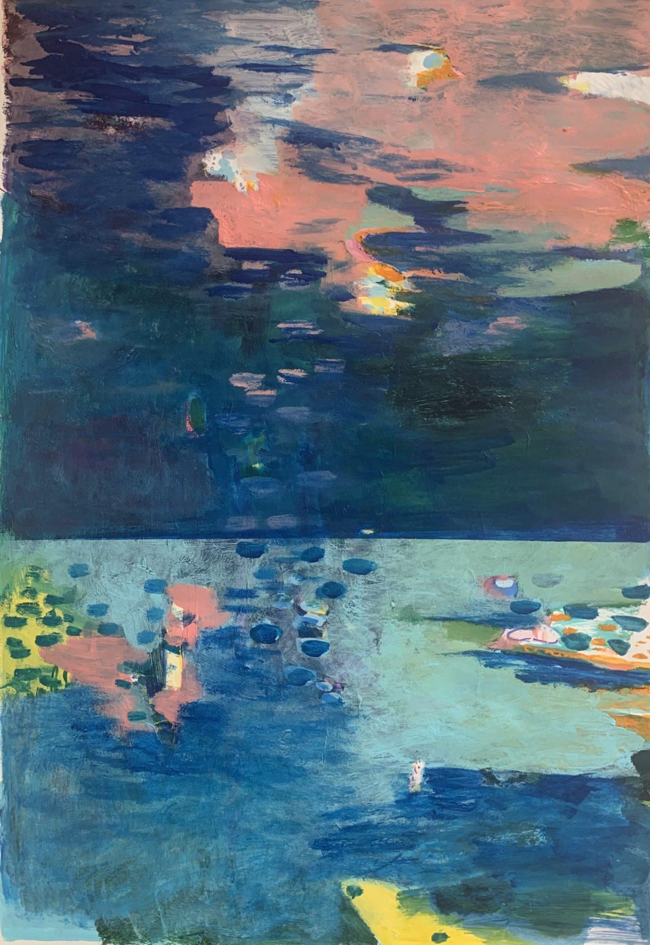 Eve, 100 x 70 cm, Acryl, Kreide- und Lackstift auf Papier, 2021