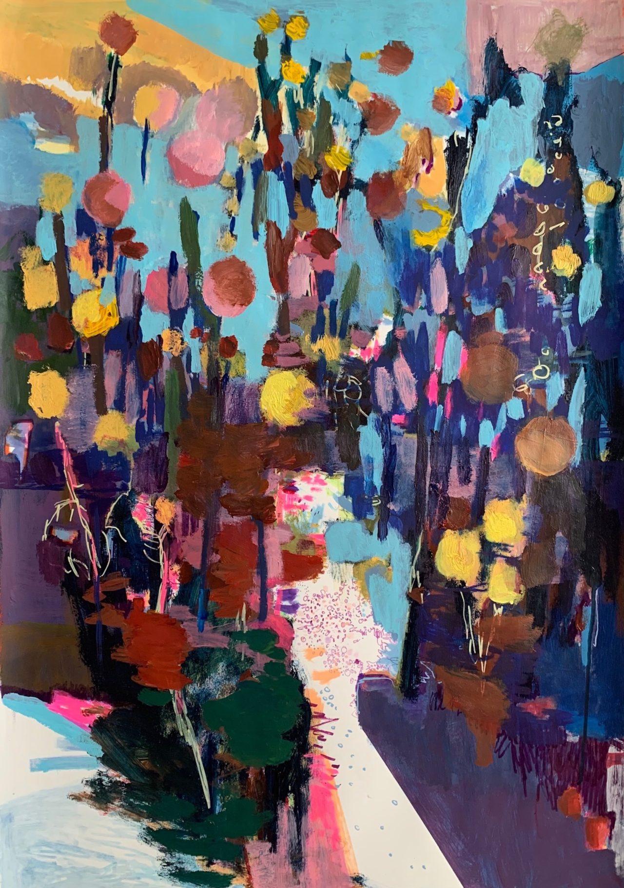 Hab Dank, 100 x 70 cm, Acryl, Tusche- und Lackstift auf Papier, 2021