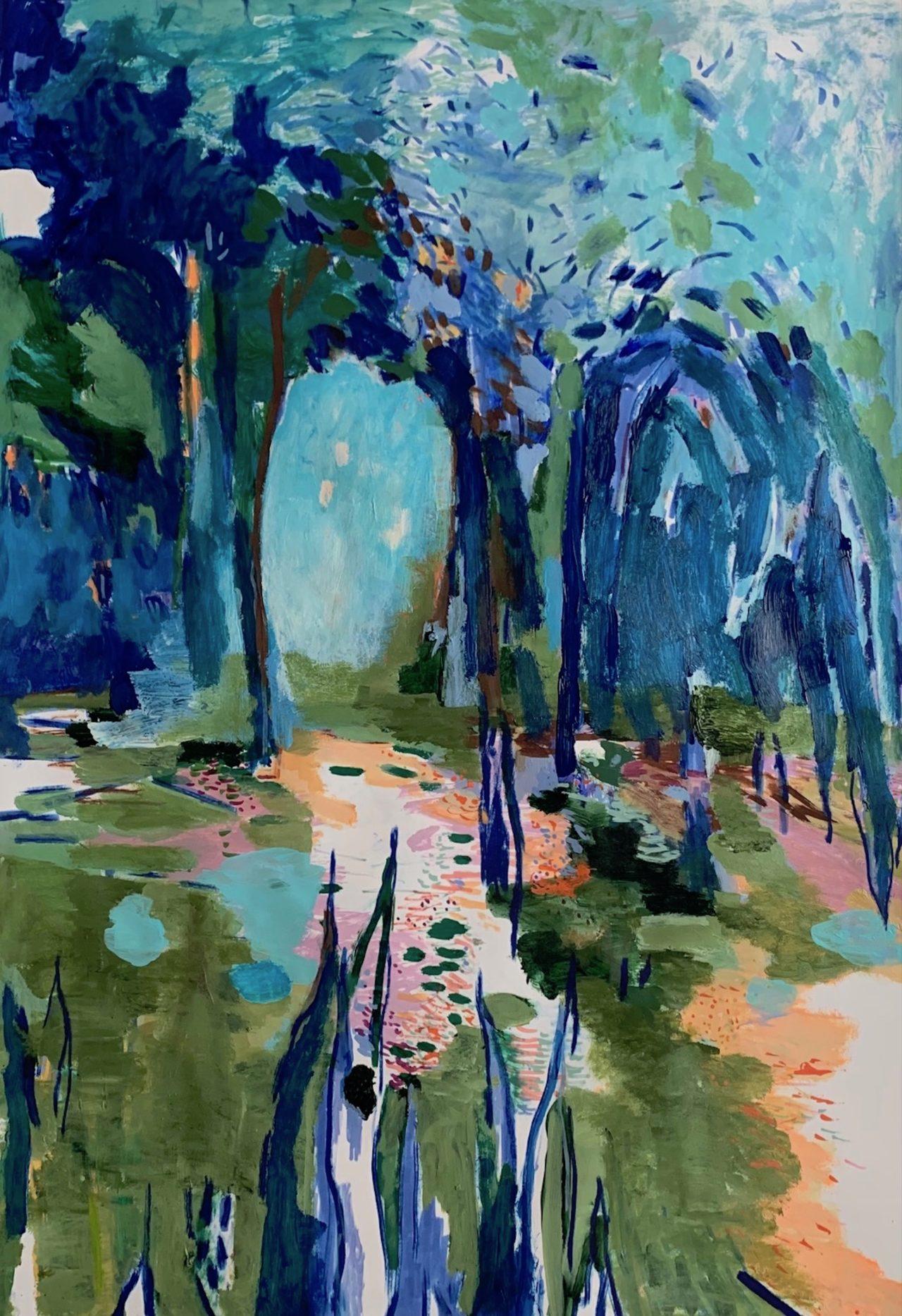 Im Schatten, 100 x 70 cm, Acryl, Lack- und Tuschestift auf Papier, 2021