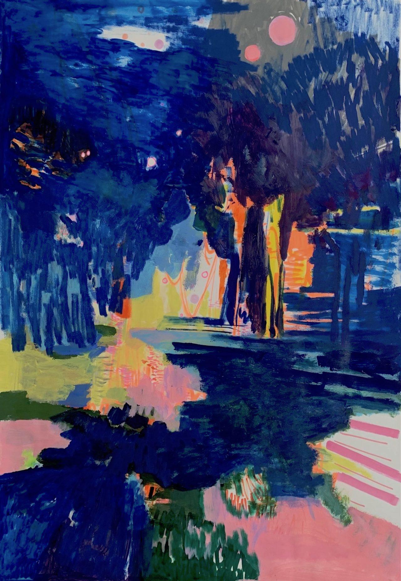 Nachts, 100 x 70 cm, Acryl, Kreide- und Lackstifte auf Papier, 2021