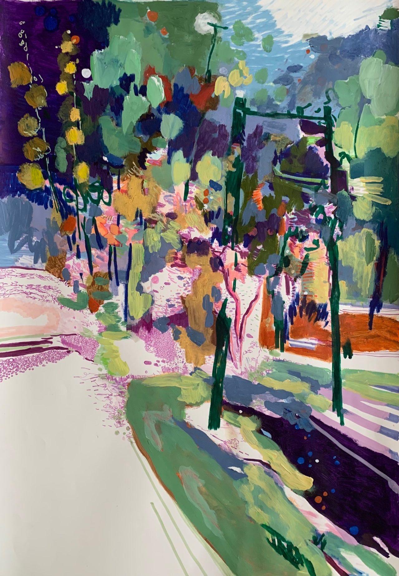 Panta rhei, 100 x 70 cm, Acryl, Lackstifte und Stifte auf Papier, 2021