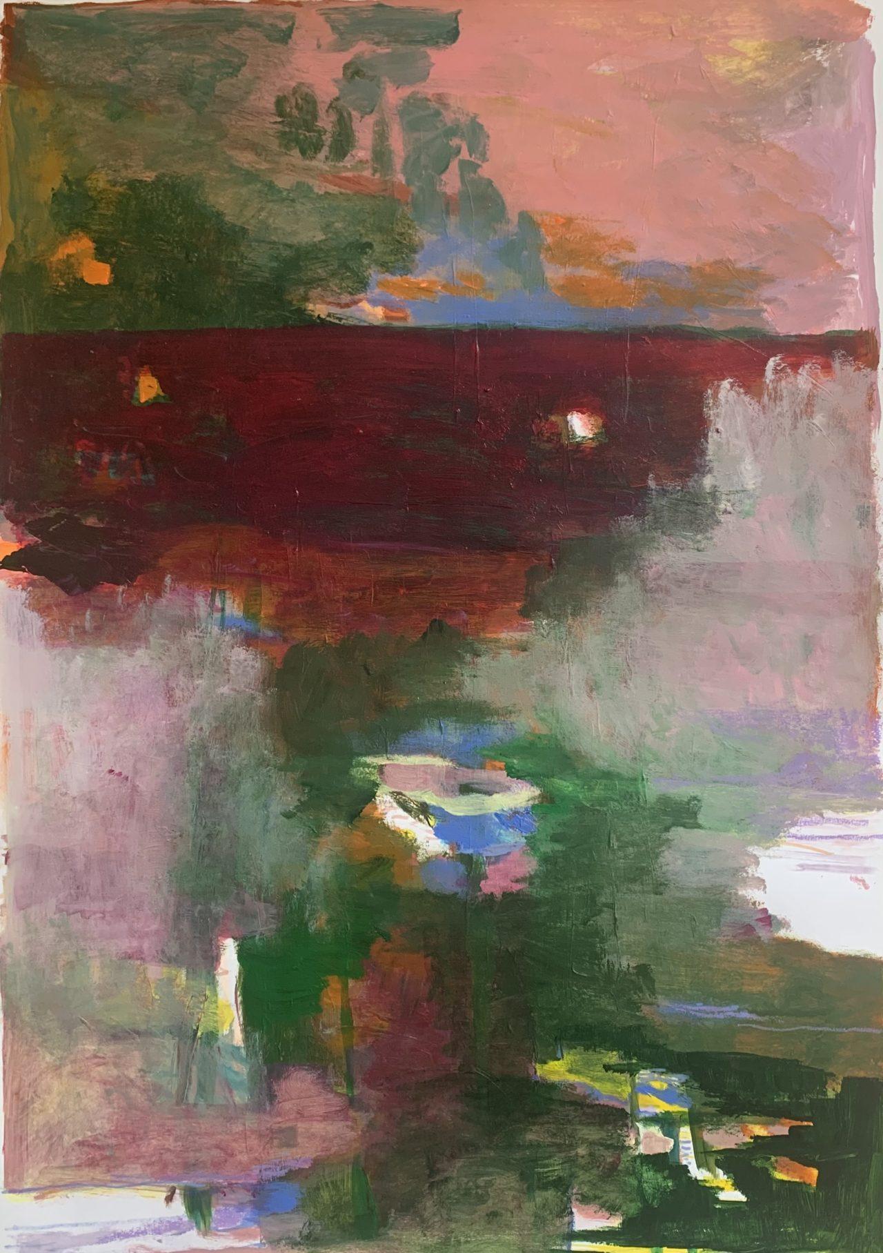 Samten, 100 x 70 cm, Acryl, Tusche- und Lackstift auf Papier, 2021