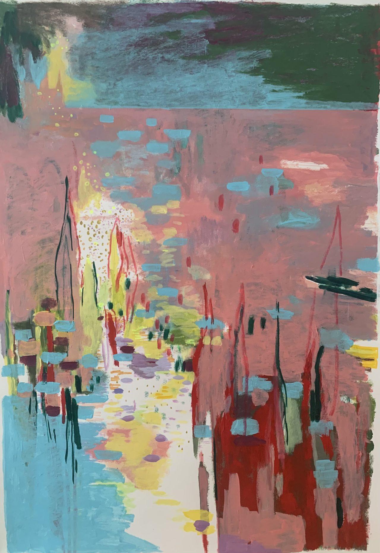So Sanft, 100 x 70 cm, Acryl, Tusche- und Lackstifte, 2021