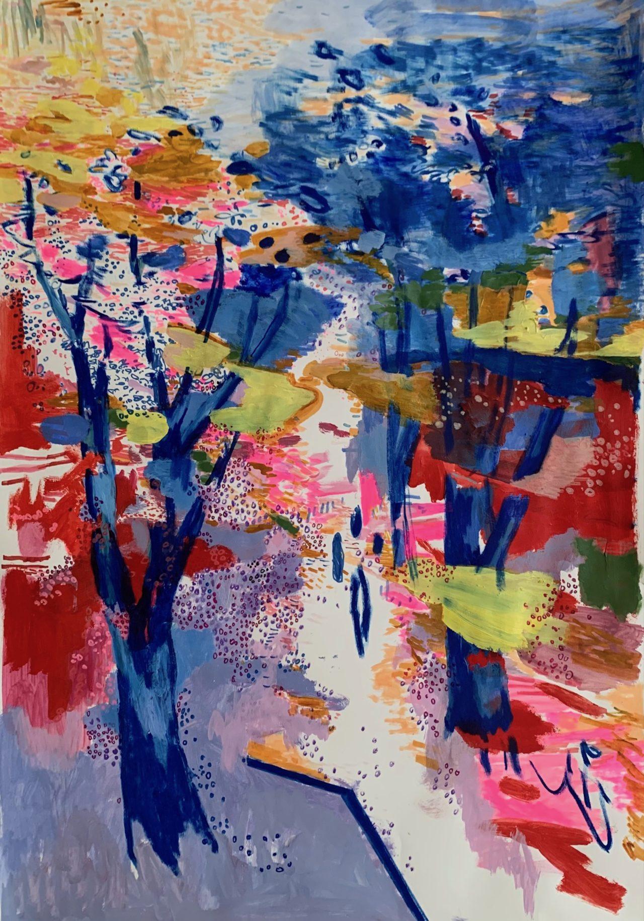 Sommerwende, 100 x 70 cm, Acryl, Kreide- und Lackstift auf Papier, 2021