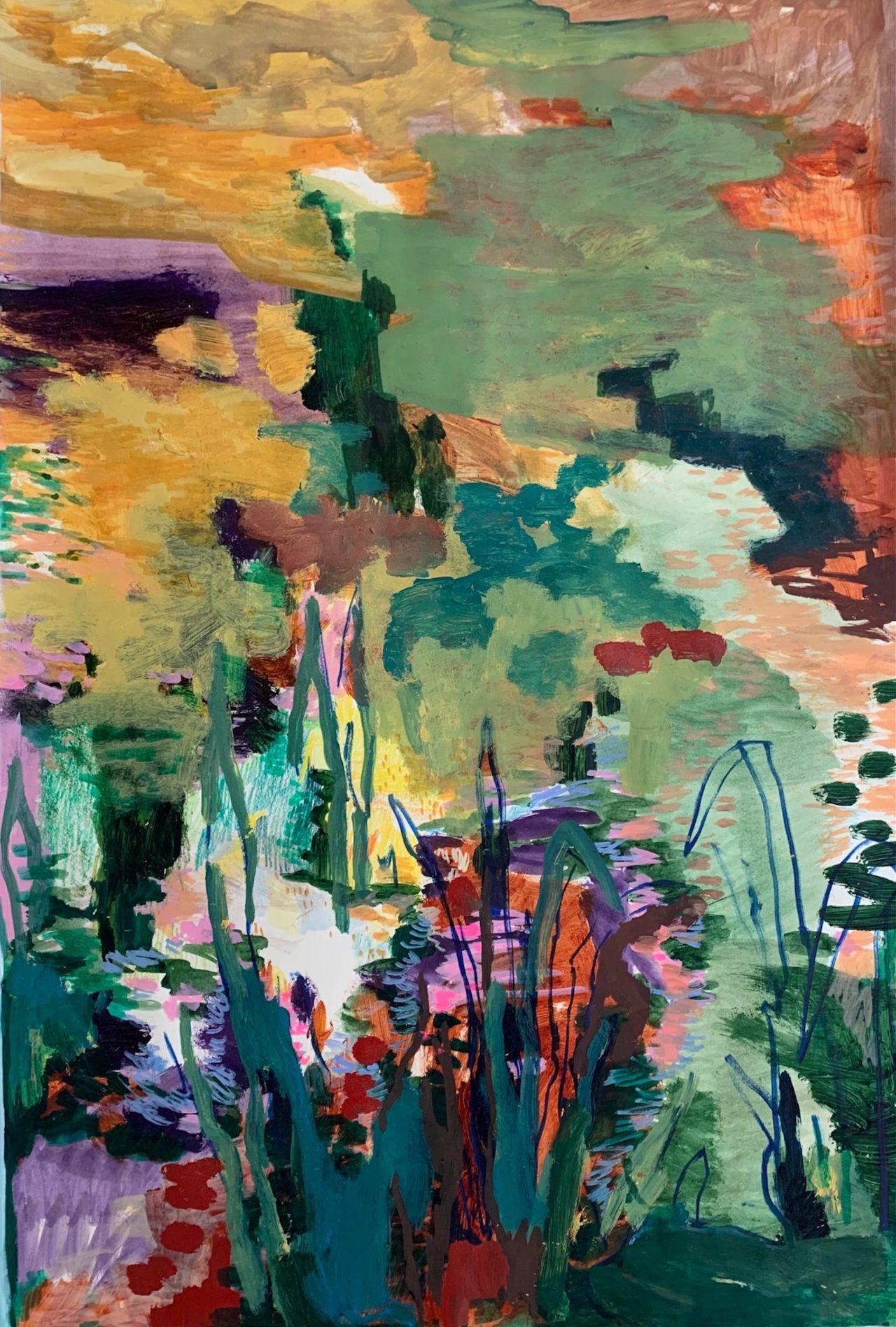 Zensee, 100 x 70 cm, Acryl, Tusche- und Lackstift auf Papier, 2021